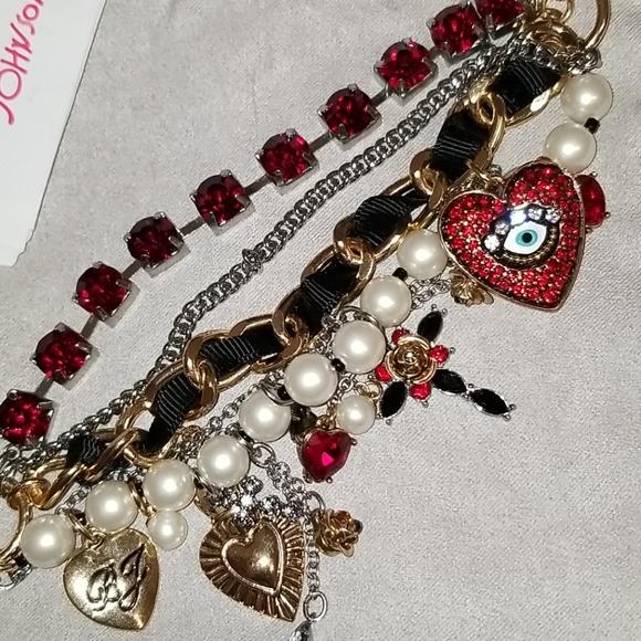 Betsey Johnson Mixed Heart Charm Multi Row Toggle Bracelet